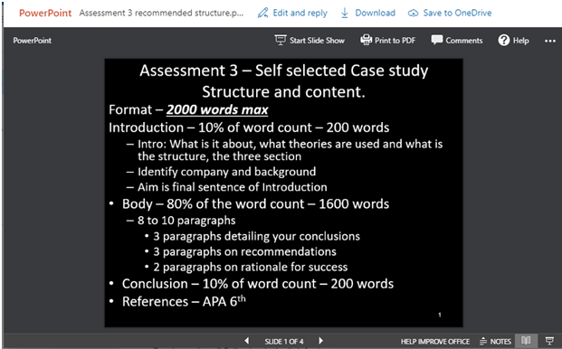 Assessment 3 recommended structure