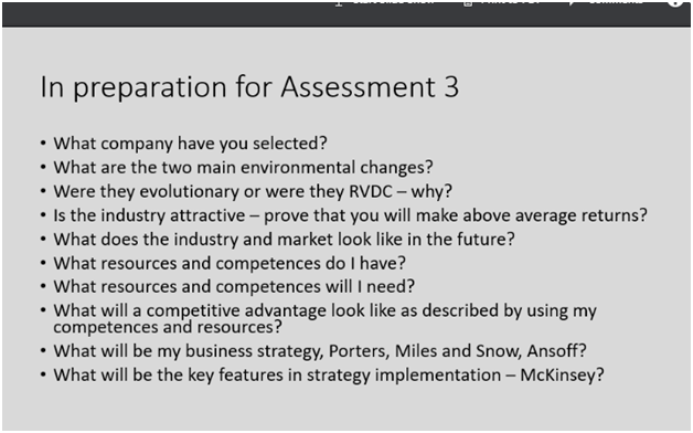 In Preparation for Assessment 3 A